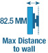75mm Max distance to wall